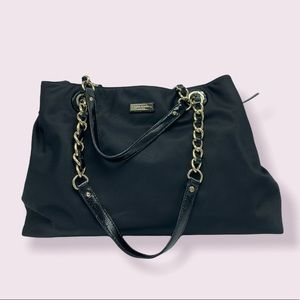 Kate Spade black gold chain diaper bag tote bag nylon